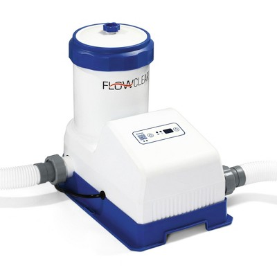 Bestway 2000 GPH Flowclear Smart Touch Wifi App Controlled Above Ground Swimming Pool Filter Pump Cartridge System, White