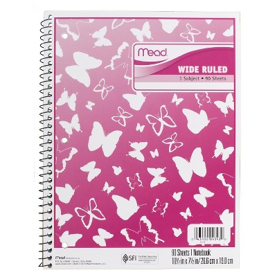 Mead 1 Subject Wide Ruled Butterfly Spiral Notebook- Pink