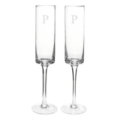8oz 2ct Monogram Contemporary Wedding Champagne Flutes