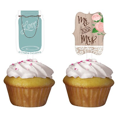 Rustic Wedding Cupcake Toppers, 12 pk