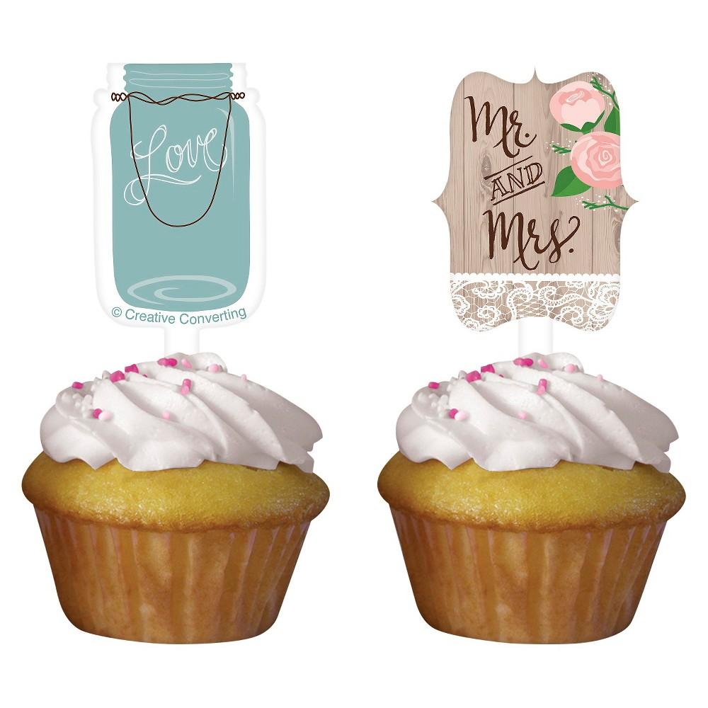 Rustic Wedding Cupcake Toppers, 12 pk