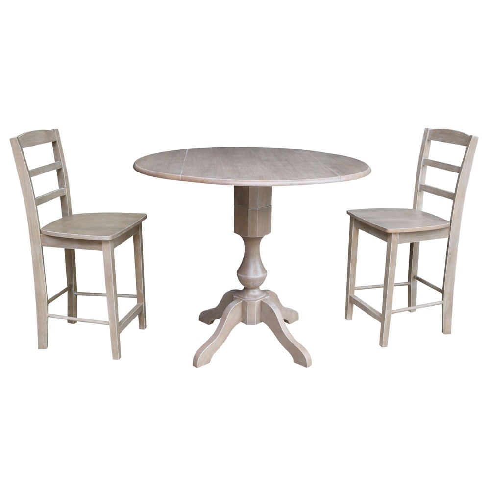 36.3 Lauren Round Pedestal Gathering Height Table with 2 Counter Height Stools Washed Gray Taupe - International Concepts was $899.99 now $674.99 (25.0% off)