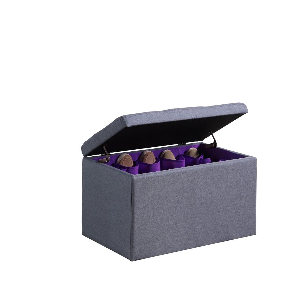 Ore International Tufted Shoe Storage Ottoman Blue, Dove Gray
