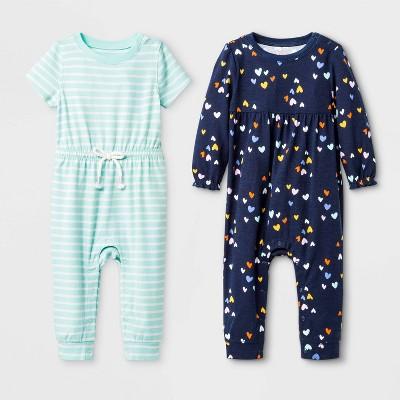 Baby Girls' 2pk Stripe All Over Print 2pk Romper - Cat & Jack™ Green/Blue 3-6M
