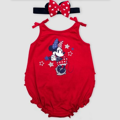Baby Girls' Disney Minnie Mouse Ruffle Bodysuit - Red 0-3M