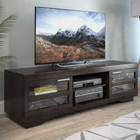 Granville Wood Veneer Tv Bench Mocha Black 66 Sonax Target