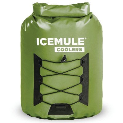 IceMule 1014-OL Pro Large Collapsible Portable Soft Sided Roll Top 23 Liter 18 Can Lightweight Insulated Waterproof Leak Proof Backpack Cooler Bag