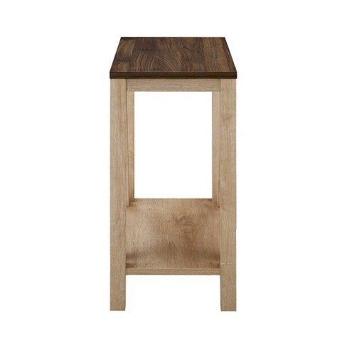 Oak End Table With Storage - Renovo Solid Oak Side Table With Storage