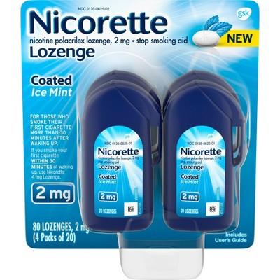 Nicorette 2mg Coated Nicotine Lozenge Stop Smoking Aid - Ice Mint