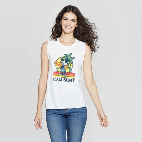 Women's Disney Scoop Neck Mickey Mouse With Surfboard Tank Top - White - image 1 of 2