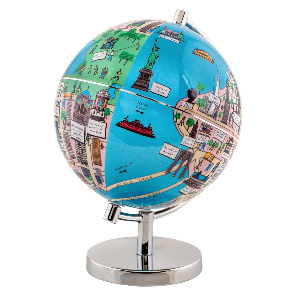 Globee New York 4 Illustrated Globe, Multi-Colored The New York globe comes mounted on a chrome silver stand. Each globe come with a 16 page booklet packed with interesting facts about the historic city and tourist sites depicted on the globe. The New York globe depicts all the major landmarks and tourist sites of the city as well as the major streets and some of the famous characters associated with it. Color: Multi-Colored. Age Group: Adult.