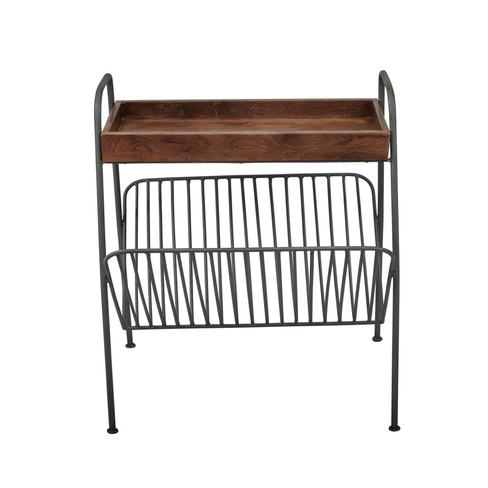 Image of Wood and Metal Chairside Table with Magazine Rack Brown and Black - Benzara