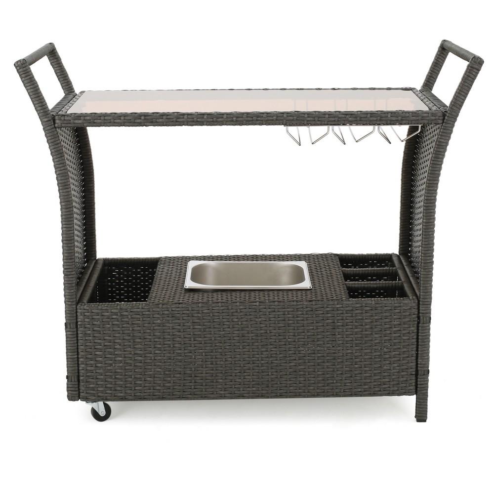 Bahama Wicker Bar Cart - Grey - Christopher Knight Home, Gray