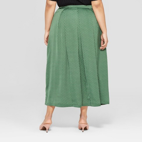 8ca1a737dc2 Women s Plus Size Polka Dot Button Front A-Line Midi Skirt - Who What Wear™  Green White 20W   Target