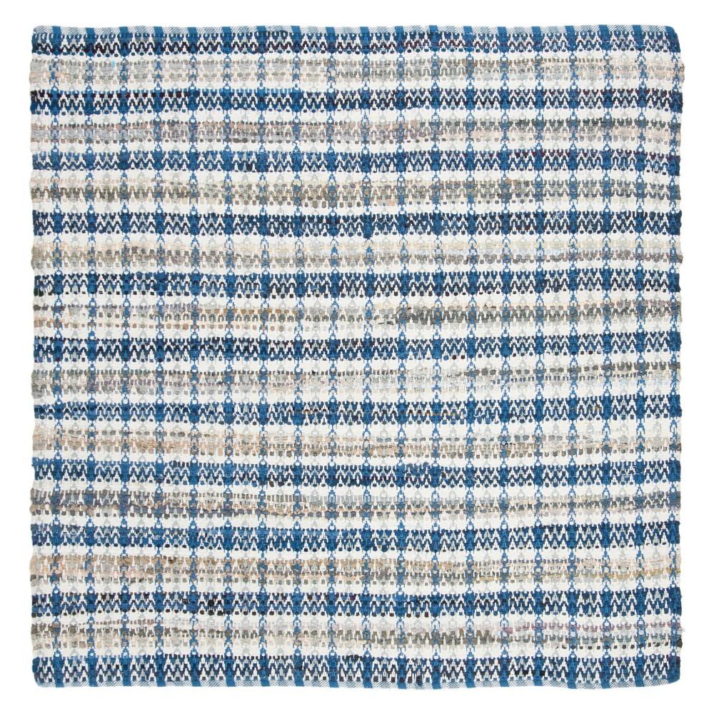 6'X6' Stripe Woven Square Area Rug Blue - Safavieh, Blue/Multi-Colored