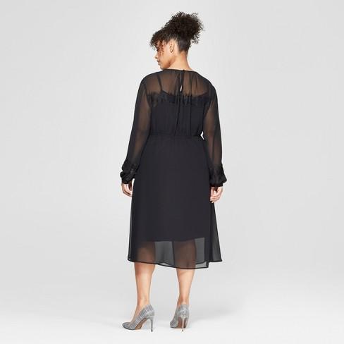 Womens Plus Size Long Sleeve Lace Mix Midi Dress Who What Wear
