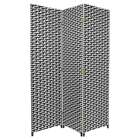 6 ft. Tall Woven Fiber Room Divider Black/White 3 Panel - Oriental Furniture - image 1 of 1