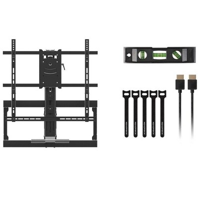 Monoprice Above Fireplace Pull-Down Full-Motion Articulating TV Wall Mount W/ Optional Soundbar Mount- For TVs 42in to 65in  Max Weight 62 lbs