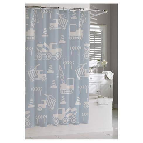 Construction Shower Curtain Blue Kassatex