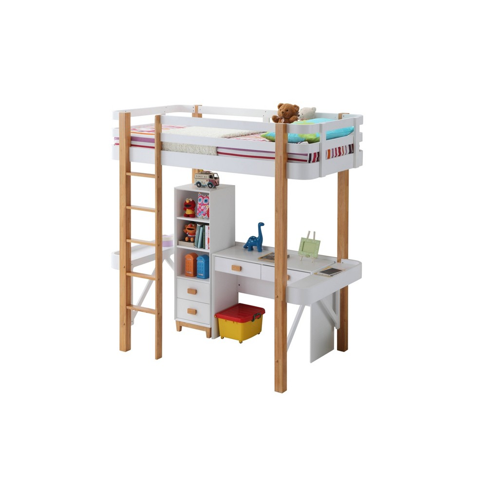 Rutherford Desk White/Natural - Acme Furniture Rutherford Desk White/Natural - Acme Furniture