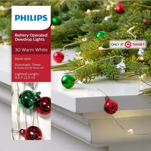 philips 30ct christmas led dewdrop garland lights jingle bells battery operated warm white sw target