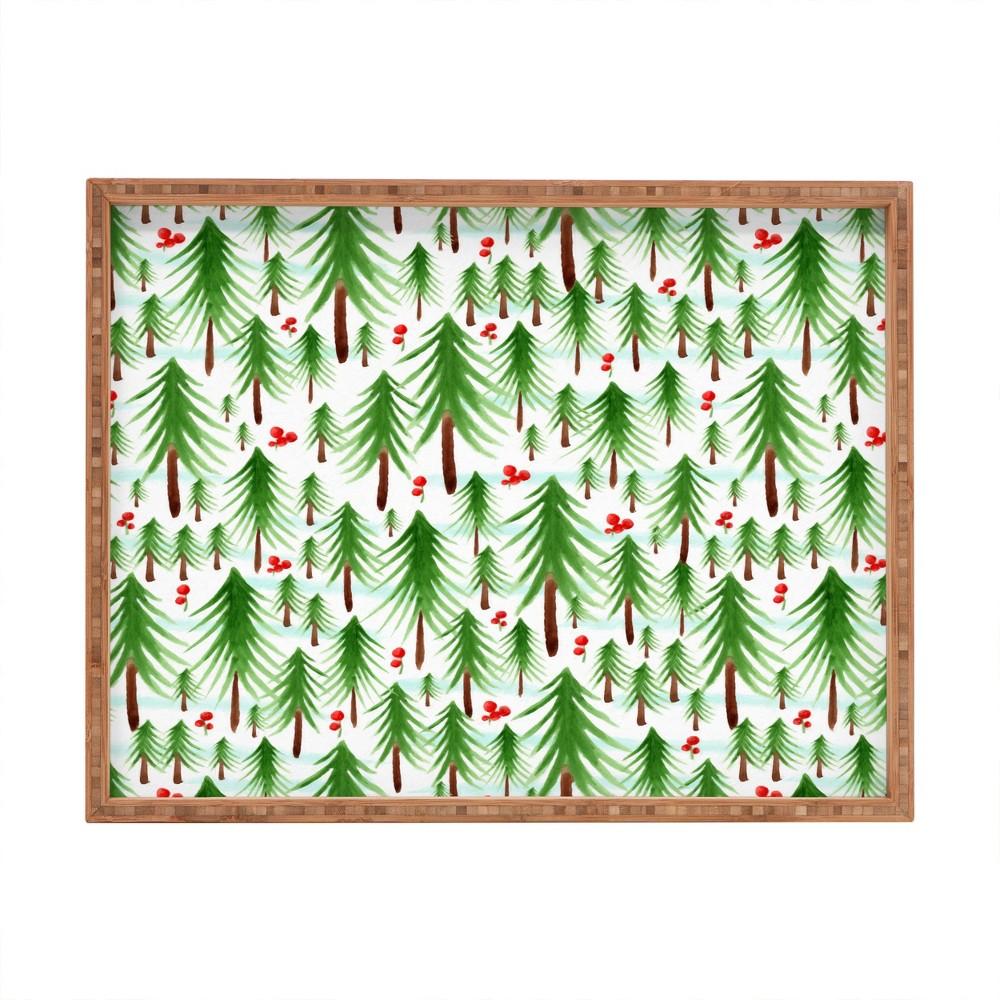 Heather Dutton Christmas Tree Farm Tray (18) - Deny Designs, Green Red