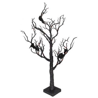 "Northlight 26.5"" Black Glittered B/O LED Tabletop Halloween Tree with Bats - Orange Lights"