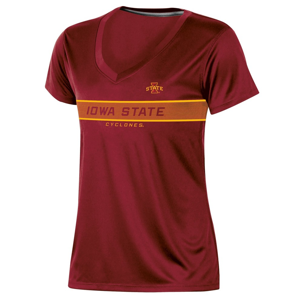 Iowa State Cyclones Women's Short Sleeve V-Neck Performance T-Shirt - XL, Multicolored