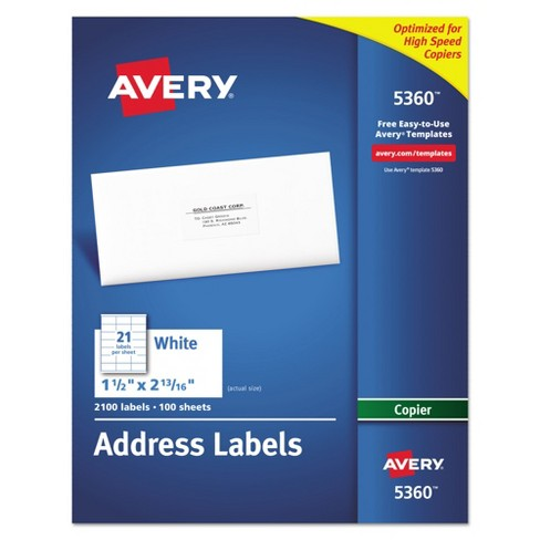 Avery Mailing Labels 15 X 28 2100ct White Target