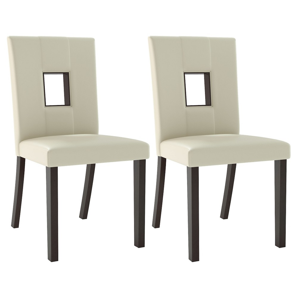 Bistro Leatherette Dining Chair Wood/White (Set of 2) - CorLiving