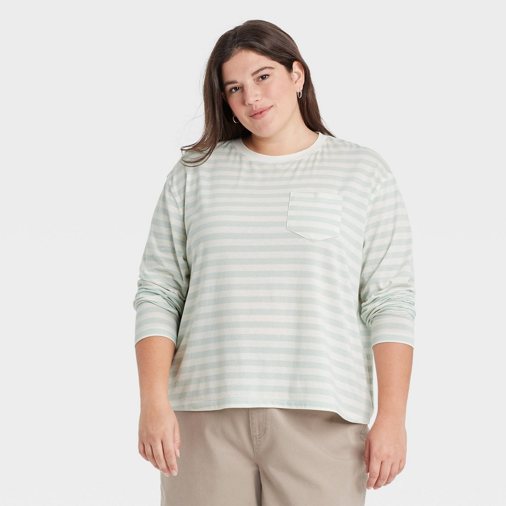 Women 39 S Plus Size Striped Slim Fit Long Sleeve Round Neck Pocket T Shirt A New Day 8482 Mint 2x