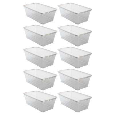 Life Story Shb 10 6 Quart Clear Shoe Storage Box Stacking Container, 10 Pack by 10 6 Quart Clear Shoe Storage Box Stacking Container, 10 Pack