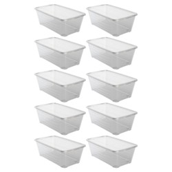 Life Story 13.7 x 8 x 4.9 Inch Shoe Storage Box Stacking Container, 10 Pack
