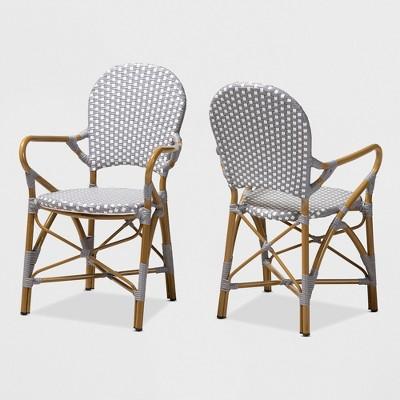 Set of 2 Seva Indoor and Outdoor Stackable Bistro Dining Chairs - BaxtonStudio