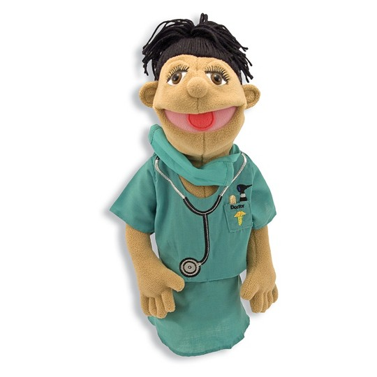 Melissa & Doug Surgeon Puppet With Doctor Scrubs and Detachable Wooden Rod for Animated Gestures image number null