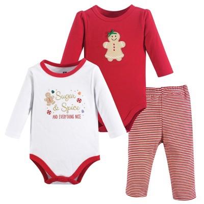 Hudson Baby Infant Girl Cotton Bodysuit and Pant Set, Sugar Spice