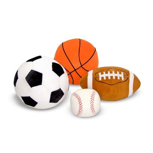 Melissa & Doug Sports Throw Pillows With Mesh Storage Bag - Plush Basketball, Baseball, Soccer Ball, and Football - image 1 of 4