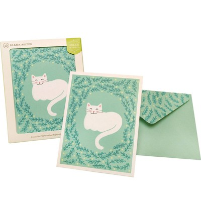 Green Inspired 10ct Happy Cat Blank Cards