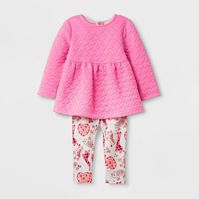 Baby Girls' Quilted Tunic All Over Print Top & Bottom Set - Cat & Jack™ Pink/Cream 3-6M