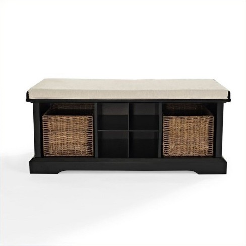 Enjoyable Wood Entryway Storage Bench In Black Pemberly Row Caraccident5 Cool Chair Designs And Ideas Caraccident5Info