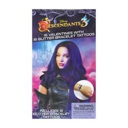 Disney Descendants 16ct Valentines With Glitter Bracelet Tattoos