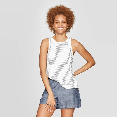 view Women's Striped Easy Fit Crewneck Tank Top - A New Day Navy on target.com. Opens in a new tab.