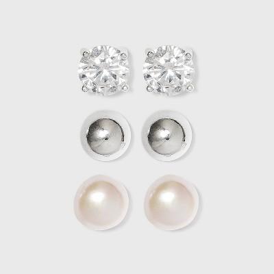 Sterling Silver Cubic Zirconia Stud Earring Set 3pc - Silver/Pearl