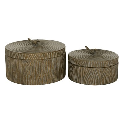 Set of 2 Round Antique Bronze Metal Boxes with Bird Handled Lid - Olivia & May