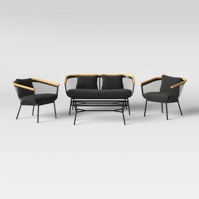 Bangor 4pc Patio Conversation Set - Black - Project 62™