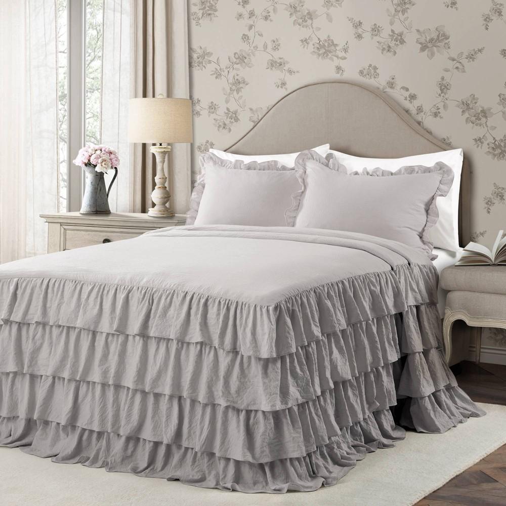 Lush Decor Full 3pc Allison Ruffle Skirt Bedspread Set Light Gray