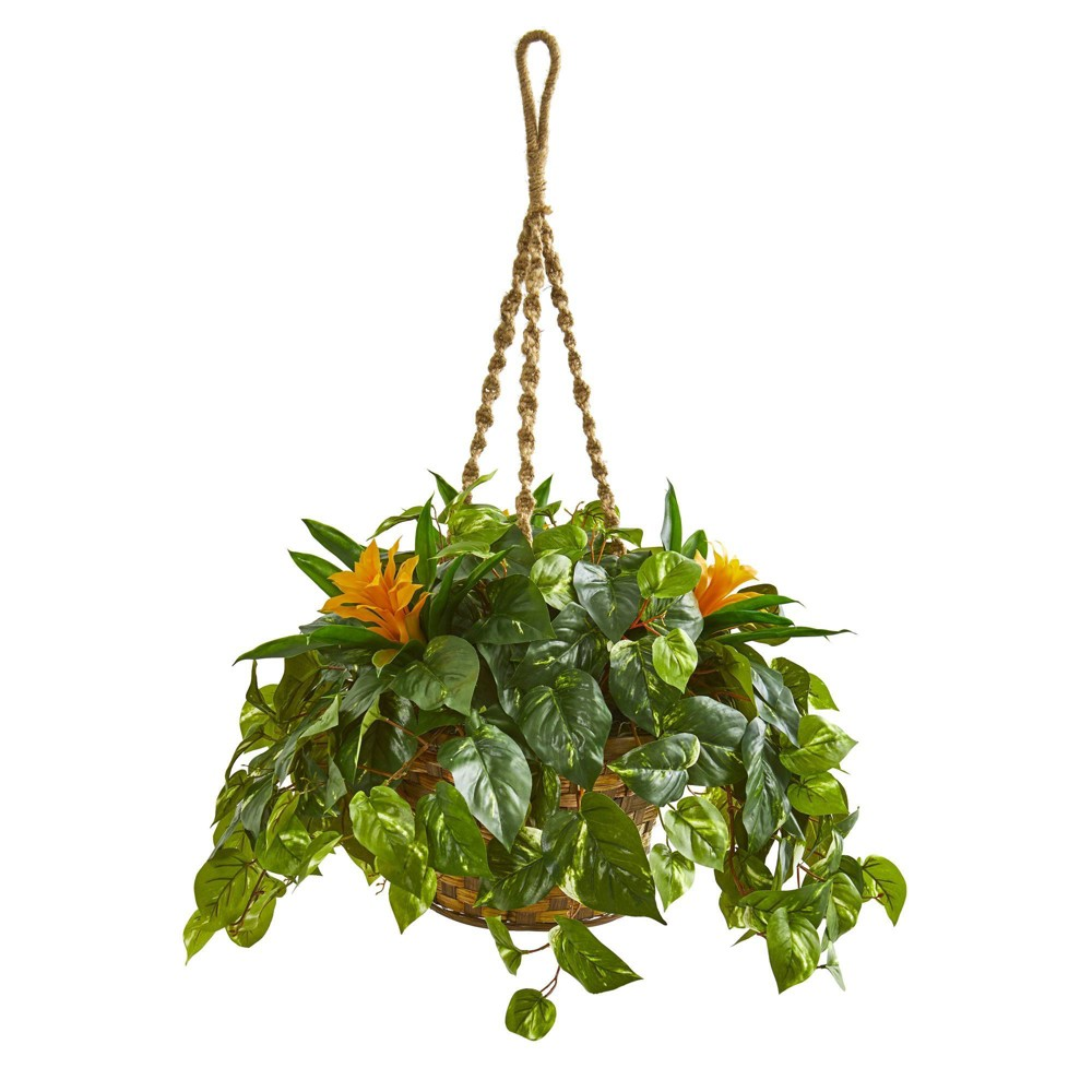 """Image of """"31"""""""" x 24"""""""" Artificial Bromeliad and Pothos Plant in Hanging Basket Yellow/Green - Nearly Natural"""""""