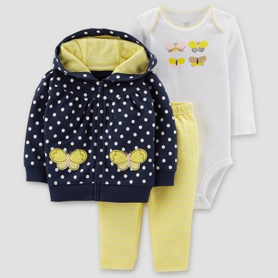 Baby Girls' Polka Dot 3pc Set - Just One You® made by carter's Navy/Yellow 3M