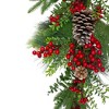 "Northlight 26"" Berry and Snowy Pinecones Artificial Teardrop Christmas Swag - Unlit - image 2 of 3"