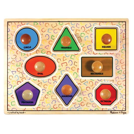 Melissa & Doug Large Shapes Jumbo Knob Wooden Puzzle (8pc) image number null